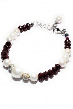Bracciale perle pietre dure rosse