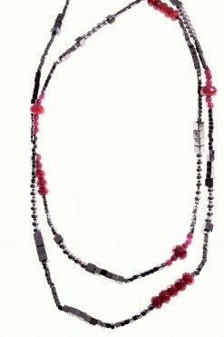 collana lunga pietre dure, rosa rossa, ematite, rubellite, argento
