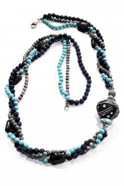 Collana Più fili blu argento