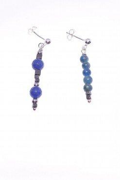 Orecchini pendenti disuguali, argento, ottanio e blu, fashion jewelry, orecchini pietre dure e argento, dimensioni diverse, disegual, pendenti, Italian fashion jewellery, earring