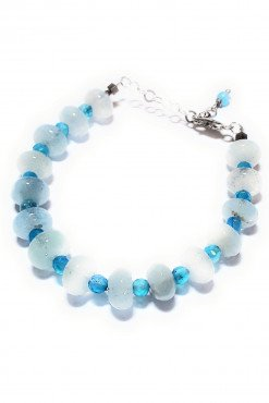 Bracciale acquamarina agata azzurra argento