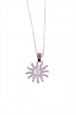 Collana con sole in argento Linea Argento collezione: simboli Catenina veneziana, quadrata compatta con ciondolo a forma di sole in argento 925