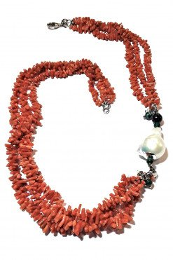 Collana corallo Mediterraneo perla