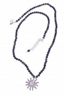 Girocollo pietre dure blu con sole argento, lapis