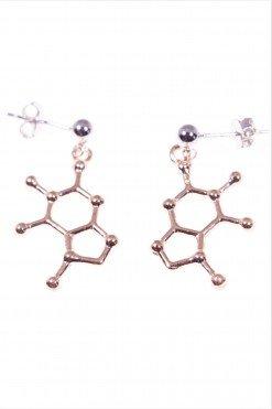 Orecchini molecola cioccolato, argento rosa,orecchini con perno e farfallina in argento 925, pendente molecola del cioccolato in argento placcato oro rosa.