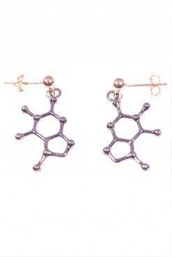 Orecchini molecola cioccolato, argento nero,orecchini con perno e farfallina in argento rosa, pendente molecola del cioccolato in argento rodio nero.