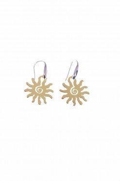 Orecchini a pompeiana con pendente sole in argento placcato oro giallo