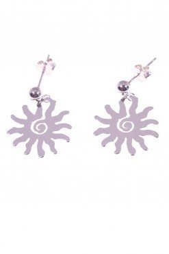 Orecchini in argento con sole Linea Argento collezione: simboli Orecchini con sfera in argento al lobo e sole stilizzato