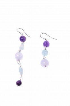 Orecchini pietre dure azzurro e viola, disuguali