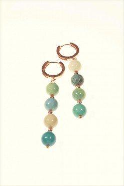 Orecchini pietre dure verdi e rosa, argento