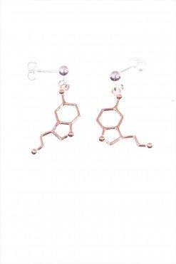 Orecchini molecola serotonina argento rosa orecchini con perno e farfallina, pendente molecola Serotonina (allegria) in Argento 925 placcato oro rosa.
