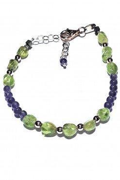 Bracciale pietre verde viola argento