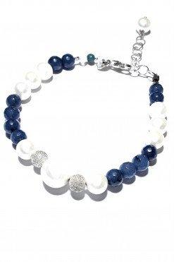 Bracciale perle giada zaffiro argentO