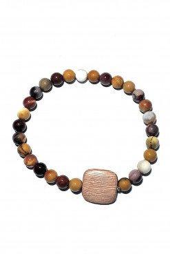 Bracciale legno e pietre dure diaspro