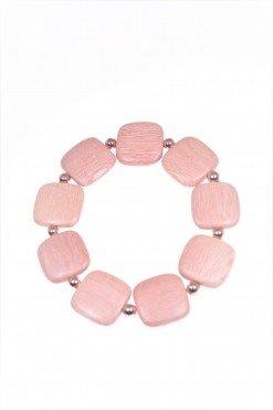 bracciale con quadrati di legno di rose divisi da sfere di ematite rosa, elastico.