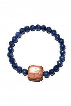Bracciale elastico giada blu legno