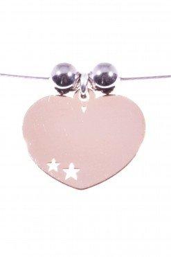 ciondolo cuore argento rosa su cavetto acciaio Ciondolo cuore lastra argento 925 placcato oro rosa 1,20 x 1,50 cm,