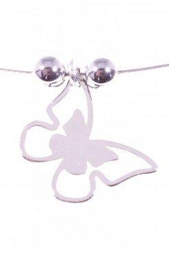 ciondolo farfalla argento su cavetto acciaio Ciondolo piatto a farfalla in argento 925 rodiato 1,50 cm,
