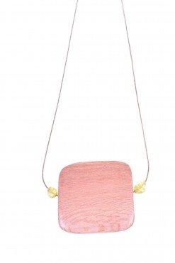 Girocollo argento rosa, legno e peridoto, square Girocollo con catenina in argento rosa con grande centrale in legno di rose e peridoto.