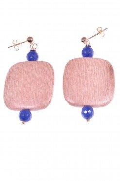 Orecchini legno, argento rosa e giada blu, square Orecchini con montatura a lobo in argento rosa con quadrato in legno di rose e giada zaffiro blu.