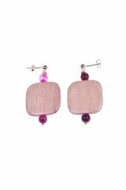 Orecchini legno, argento rosa e agata fucsia, square Orecchini con montatura in argento rosa con grande centrale in legno di rose e agata fucsia.