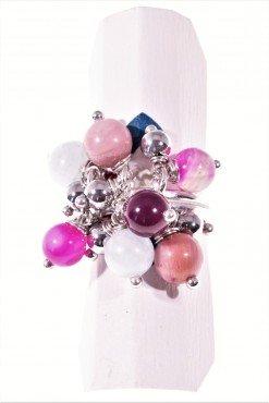 Anello argento, ciuffo pietre dure rosa e fucsia Linea P.blu Anello in argento 925 rodiato con ciuffo di pietre dure.