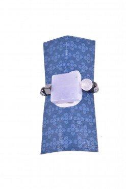 Anello pietre dure, calcedonio con elastico Linea P.blu Anello con elastico interno, calcedonio grezzo quadrato, ematite naturale