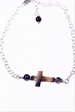 Bracciale croce madreperla, argento Linea MillaCollezioni: croce - chain Bracciale catena argento 925, croce madreperla e agata viola.