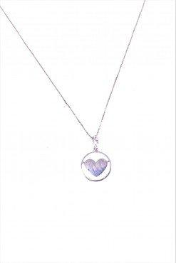 Catenina e cuore nel cerchio, argentoLinea Argento Catenina veneziana 40 cm. con ciondolo, cerchio con all'interno un cuore in argento 925 rodiato