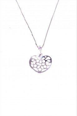 Catenina luna e cuori, argento Catenina veneziana 40 cm. con ciondolo, cuore traforato con cuori in argento 925 rodiato, san valentino.