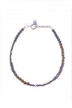 Bracciale minimal, ematite bronzo, argento, Bracciale semi rigido ematite naturale rondelle e sfere sfaccettate, ematite color bronzo, argento rodiato nero.