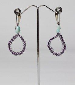 Orecchini uncinetto ovali, amazzonite, argento, Orecchini ovale in filo di rame Viola lavorato con l'uncinetto, chiusura in argento rodiato, amazzonite.