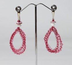 Orecchini uncinetto ovali, conchiglia, argento Orecchini pendenti con ovale in filo di rame fucsia lavorato con l'uncinetto