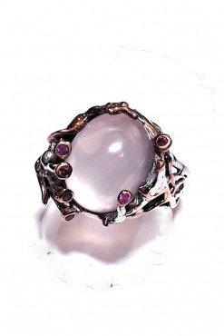 Anello argento rutilato quarzo rosa