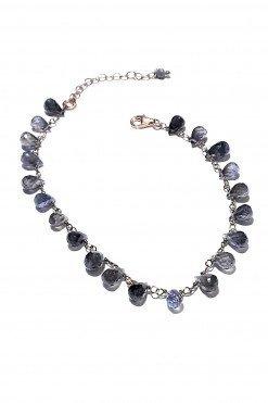 Bracciale rosario Iolite blu argento