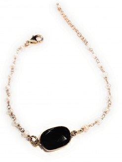 bracciale rosario perline e centrale spinello nero