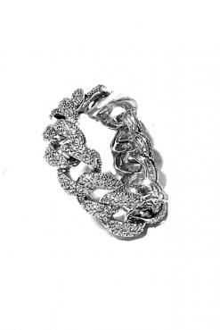 Anello iced grumetta argento, argento 925