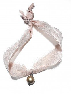 bracciale seta boho con perla color