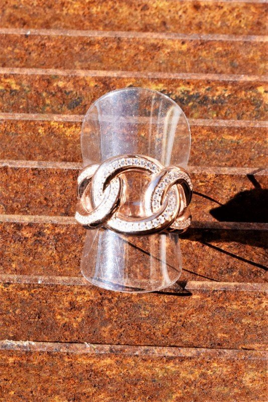 anello grumetta iced argento rosa