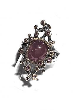Anello Rodolite cabochon rubini argento