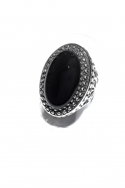 Anello fascia ovale nera argento