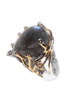 Anello labradorite cabochon artigianale
