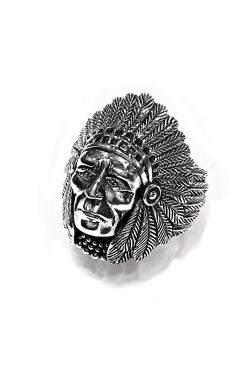 Anello uomo Capo Indiano argento