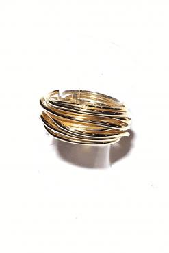 Anello fili argento dorato