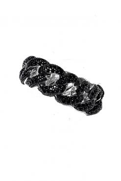 Anello iced nero grumetta argento 925