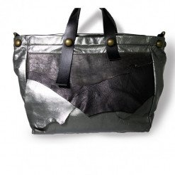 Borsa pelle grigia nera swagger bag,