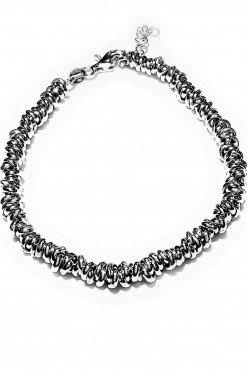 Bracciale dischetti intrecciati argento