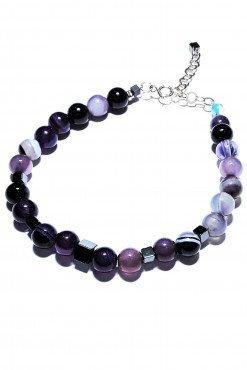 Bracciale agata viola e argento