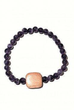 Bracciale elastico Ametista viola legno
