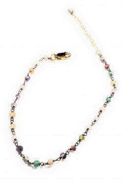 Bracciale rosario multicolore argento oro, bracciale moda esta